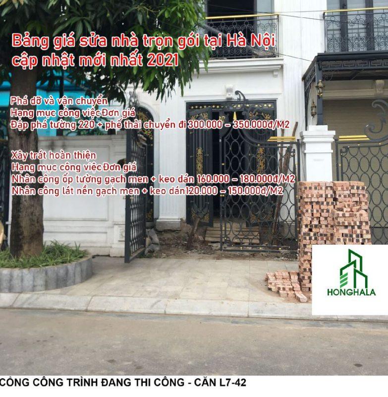 Bảng giá sửa nhà trọn gói tại Hà Nội