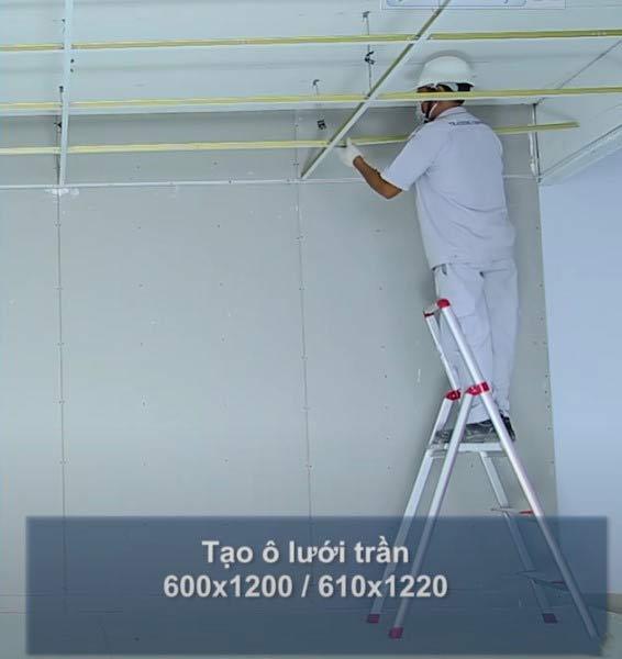 Tạo ô lưới trần 600x1200