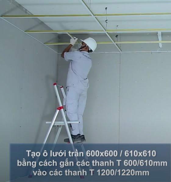 Tạo ô lưới trần 600x600